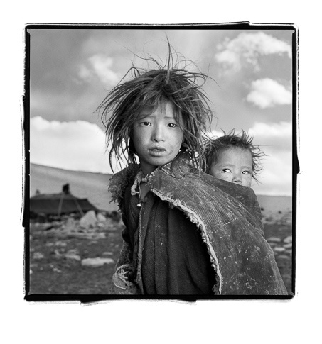 Jigme 8 & Sonam 18mos, Ladakh, India by Phil Borges
