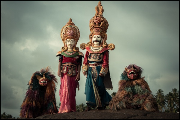 King, Queen and Two Dog Masks, South Sri Lanka by Chris Rainier
