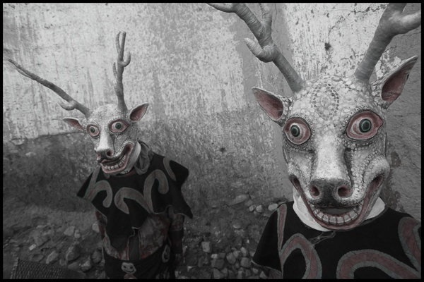 Buddhist Deer Dance Mask, Mustang region, Nepal by Chris Rainier