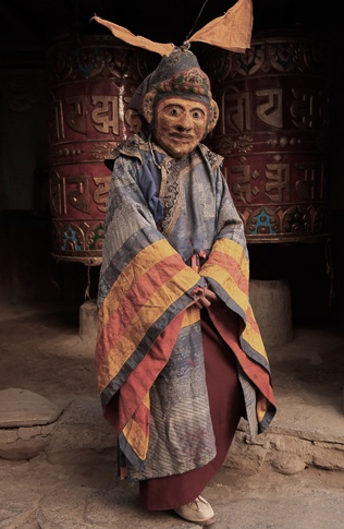 Buddhist Dance Mask, Mustang region, Nepal by Chris Rainier