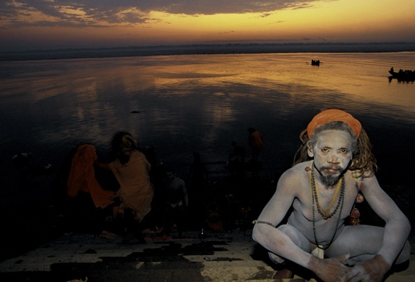 Sadhus Bathing at Dawn in Benares by Thomas L. Kelly