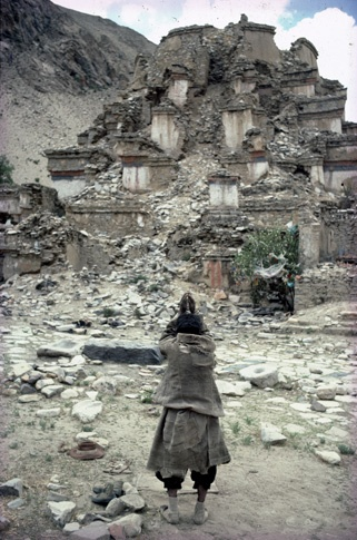 Praying at Destroyed Jonang Kumbum by Thomas L. Kelly