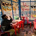 Cafe with red chairs, Tehran
