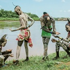 Kara Men body painting by Omo River, Ethiopia