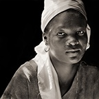 Woman in Flour Mill, Haiti, 1984