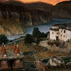 Chortens, House, Mountains and Tangye Khola