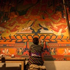 Tsering Dolma Shading New Wall Paintings, South Wall Thupchen, 2013