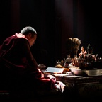 Lama Ngawang Kunga Praying During the Creation of a Sand Mandala in Thupchen