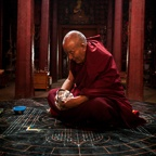 A High Lama Performing Introduction Prayers Before Starting a Sand Mandala, Thupchen Temple