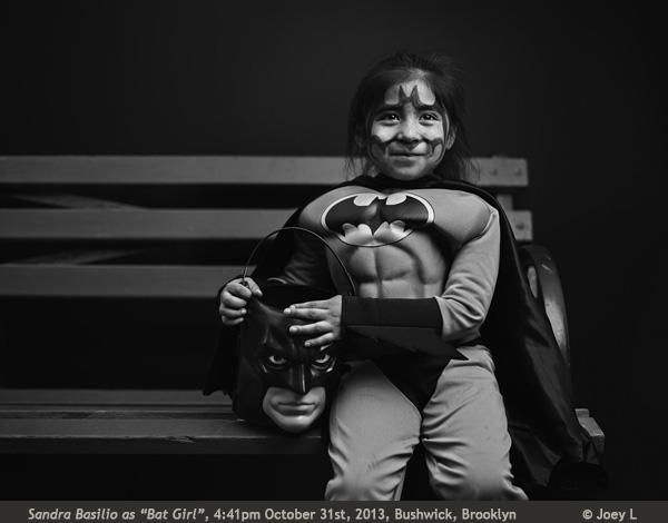 Joey L Halloween in Brooklyn photograph Sandra Basiloa as Bat Girl